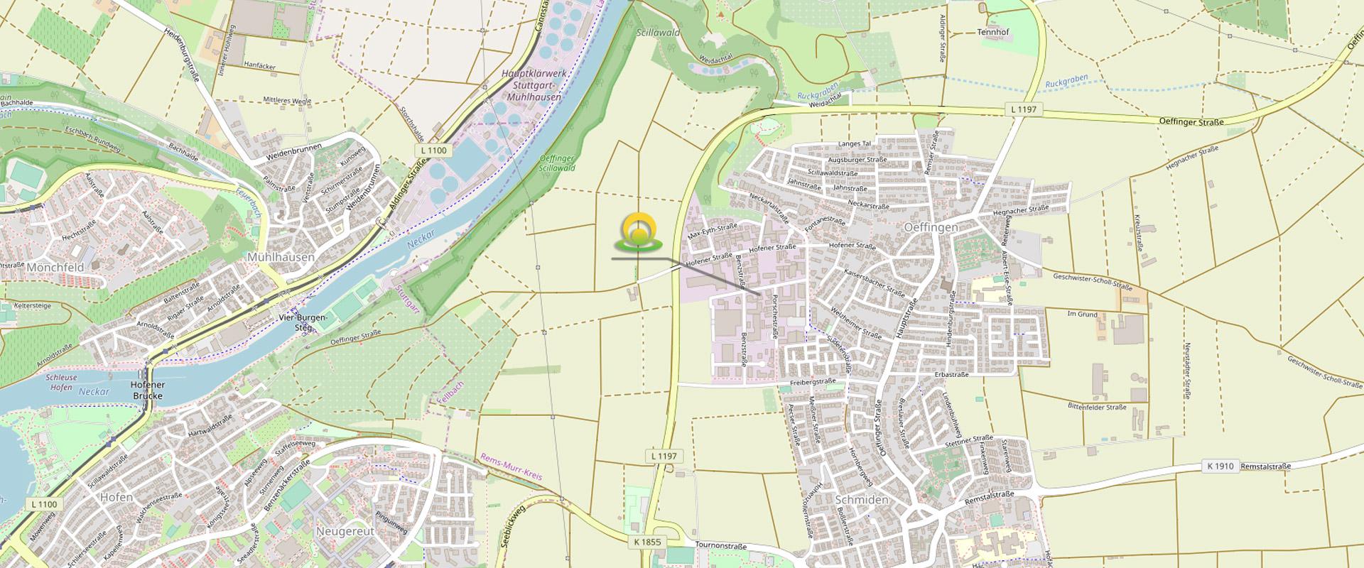 Karte Standort Thera Medica Fellbach-Öffingen